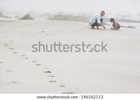 Side view of father and son playing with sand at beach - stock photo