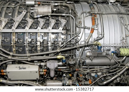Side view of General Electric's J79 jet engine - stock photo