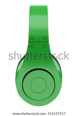 side view of green and black wireless headphones isolated on white background - stock photo