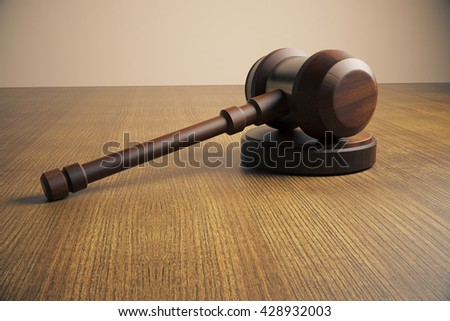 Side view of judge's gavel on wooden tabletop. Close up, 3D Rendering - stock photo