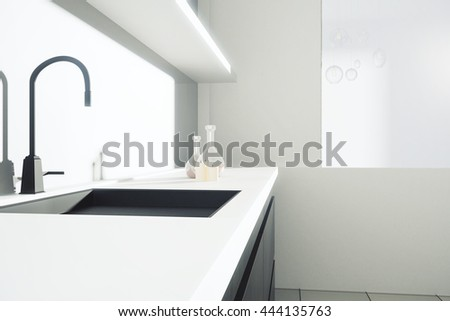 Side view of kitchen counter with sink and shelves with items. Closeup, 3D Rendering - stock photo