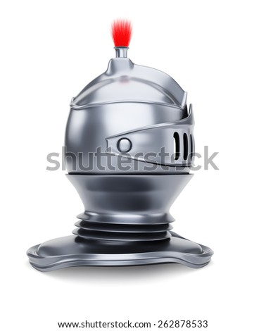 Side view of knight's helmet isolated on white. 3d render - stock photo