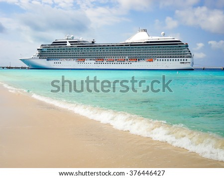Side view of luxury cruise ship in Grand Turk, Turks and Caicos Islands, the Caribbean.   - stock photo