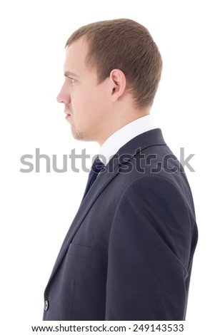 side view of man in business suit isolated on white background - stock photo