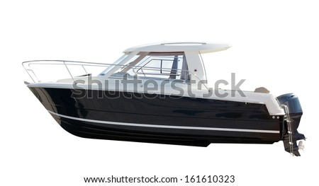 Side view of motor boat. Isolated over white background - stock photo