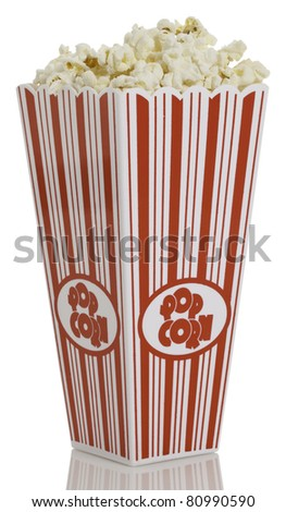 Side view of movie style popcorn box isolated on white background. - stock photo