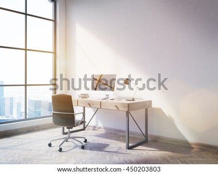 Side view of office interior with blank computer on desktop, wooden floor, concrete wall and window with New York city view. Mock up, 3D Rendering - stock photo