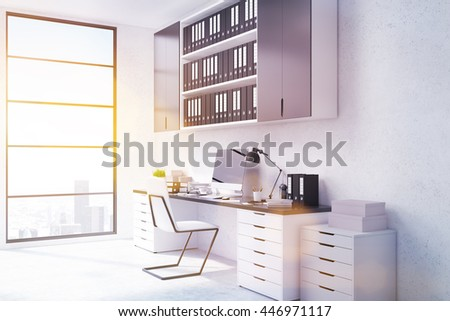 Side view of office workplace with blank computer monitor, shelves with documents and window with New York city view and sunlight. Toned image, 3D Rendering - stock photo