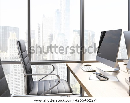 Side view of office workplace with blank computer screen and New York city view. Mock up, 3D Rendering - stock photo