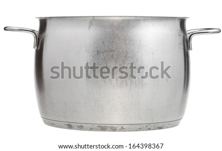 side view of open big stainless steel pan isolated on white background - stock photo