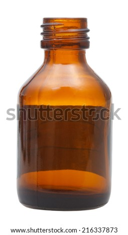 side view of open brown glass oval pharmacy bottle isolated on white background - stock photo