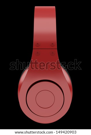 side view of red and black wireless headphones isolated on black background - stock photo