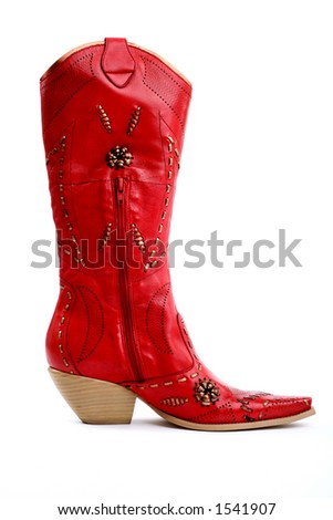 side view of red cowgirl boots - stock photo