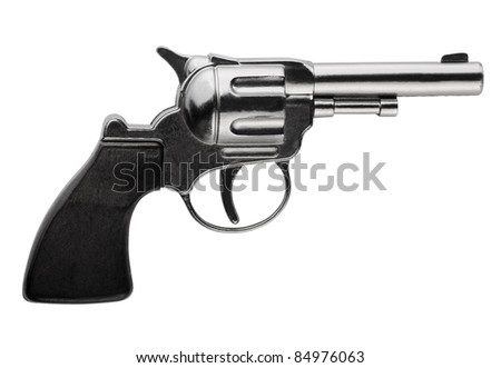 Side view of revolver isolated on white - stock photo
