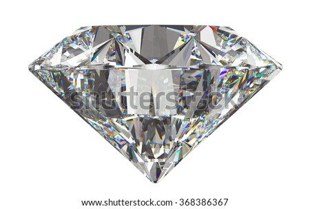 Side view of round diamond with isolated on white - stock photo