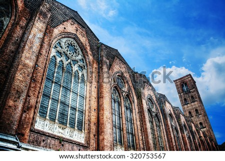 side view of San Petronio cathedral in hdr, Italy - stock photo