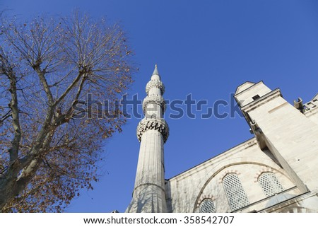 Side view of the Blue Mosque in Istanbul ,Turkey. - stock photo