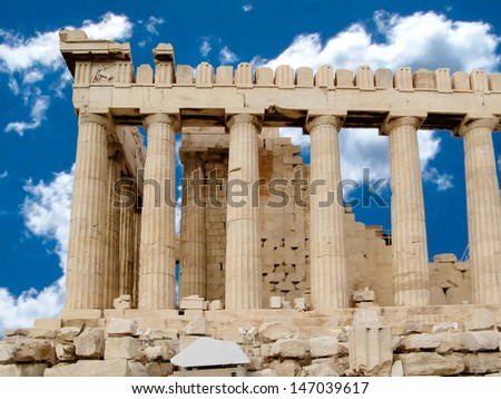 Side view of the columns of The Parthenon temple or sanctuary for Athena Parthenos in Greece. - stock photo