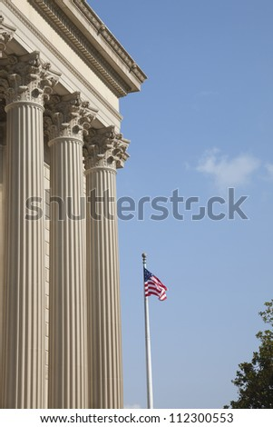 Side view of the National Archives in Washington DC - stock photo