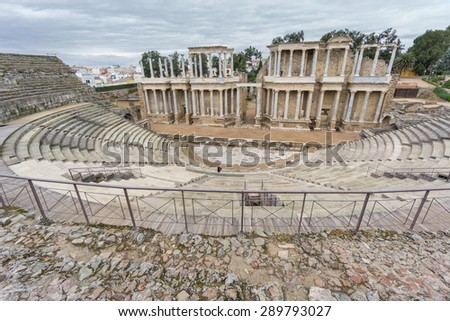 Side view of The Roman Theatre and proscenium in Merida, Extremadura, Spain, wide angle - stock photo
