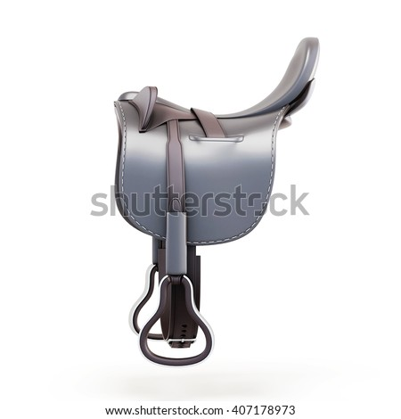 Side view of the saddle isolated on a white background. 3d rendering. - stock photo