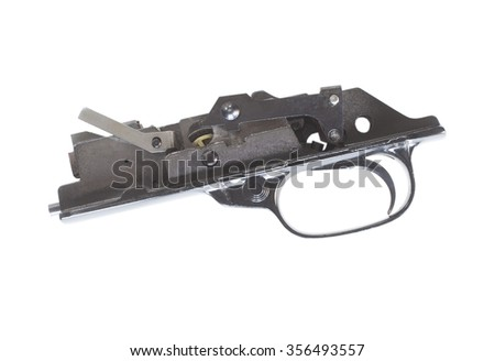 Side view of the trigger group and safety of a rifle isolated on white - stock photo