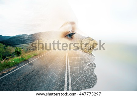 Side view of thoughtful woman's face on road and landscape background with sunlight. Double exposure - stock photo