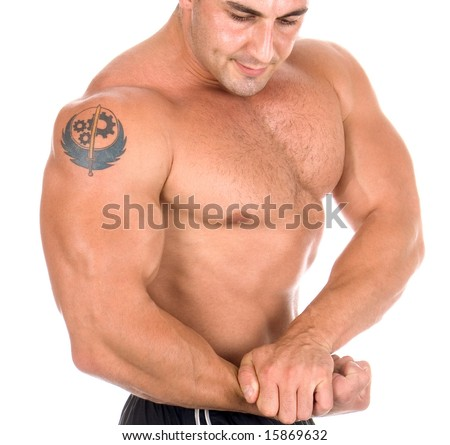 Side view of torso of a  man - stock photo