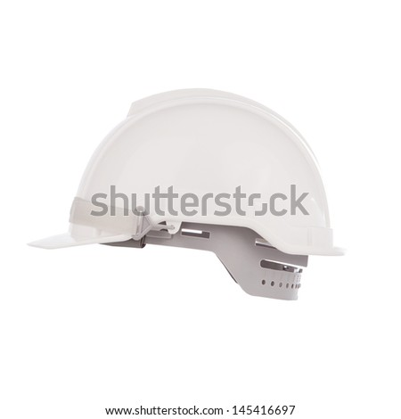 side view of white safety helmet isolated background - stock photo