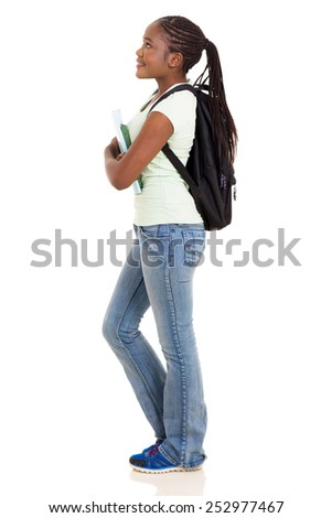 side view of young african college girl looking up isolated on white - stock photo