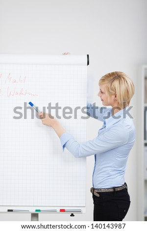 Side view of young businesswoman giving presentation in office - stock photo