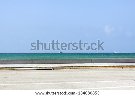 Side View on Coast Road - stock photo