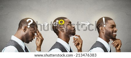 Side view profile sequence head shots thoughtful, thinking, finding solution young man with gear mechanism, question, exclamation sign illustration isolated grey background. Human face expressions - stock photo