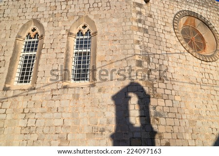 Side walls of the Dominican Monastery of old Venetian town near the Adriatic sea, Dubrovnik, Croatia - stock photo