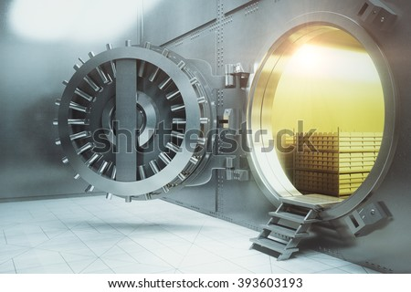 Sideview of an open bank vault with gold stacks. 3D Render  - stock photo