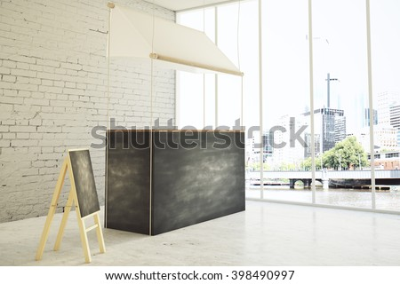 Sideview of empty food stand and menu board in shop interior. Mock up, 3D Rendering - stock photo