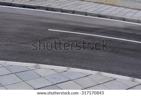 sidewalk and street - stock photo