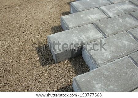 sidewalk from bricks  - stock photo