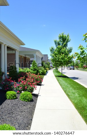 Sidewalk in a Brand New Suburban Neighborhood Development - stock photo