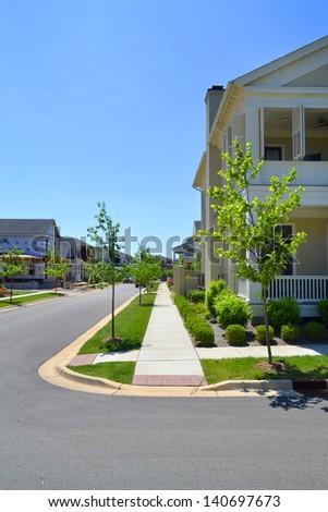 Sidewalk in a New Suburban Neighborhood Development - stock photo