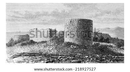 Sidon Sea Castle in Sidon, Lebanon, vintage engraved illustration. Le Tour du Monde, Travel Journal, 1881 - stock photo