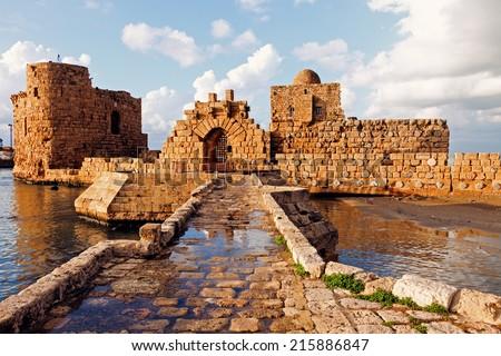 Sidon Sea Castle - Sidon, Lebanon - stock photo