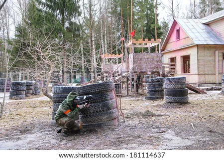 Siege of paintball castle - stock photo