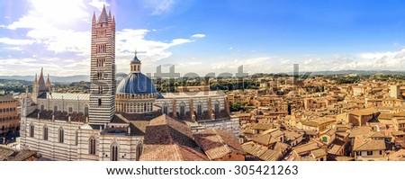 Siena, beautiful panorama of the historic city. Tuscany, Italy - stock photo