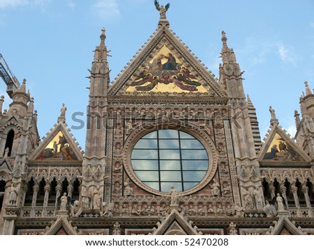 Siena - Duomo .The western facade - stock photo