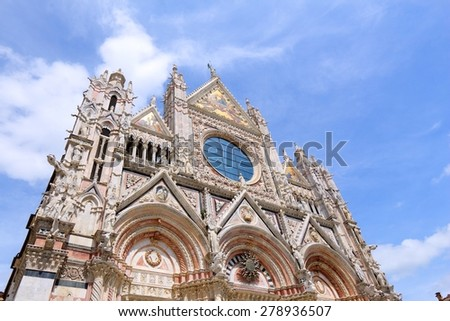 Siena, Italy - medieval town of Tuscany. Cathedral facade. - stock photo