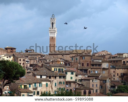 Siena - panorama of the old part of town with a slender tower, Torre del Manga - stock photo
