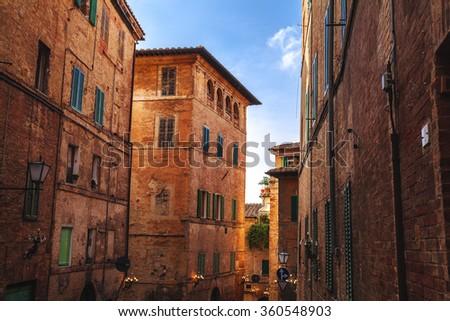 Siena street in tuscany,Italy. - stock photo