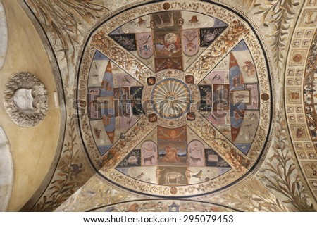 SIENA, TUSCANY - MAY 28 2015. Beautiful medieval ceiling frescos at the Accademia Musicale, Siena on MAY 28 2015. - stock photo