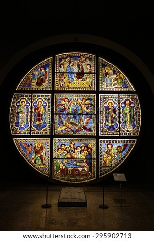 SIENA, TUSCANY - MAY 28 2015. The original Duomo Oculus probably by Duccio on display in the Cathedral Museum after restoration on MAY 28 2015. - stock photo